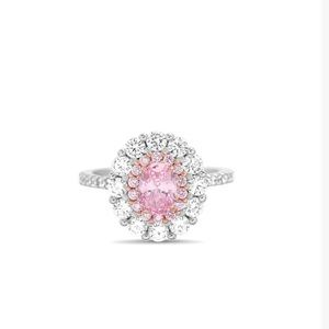 Pink Cubic Zirconia & Double Halo Oval-Cut Ring